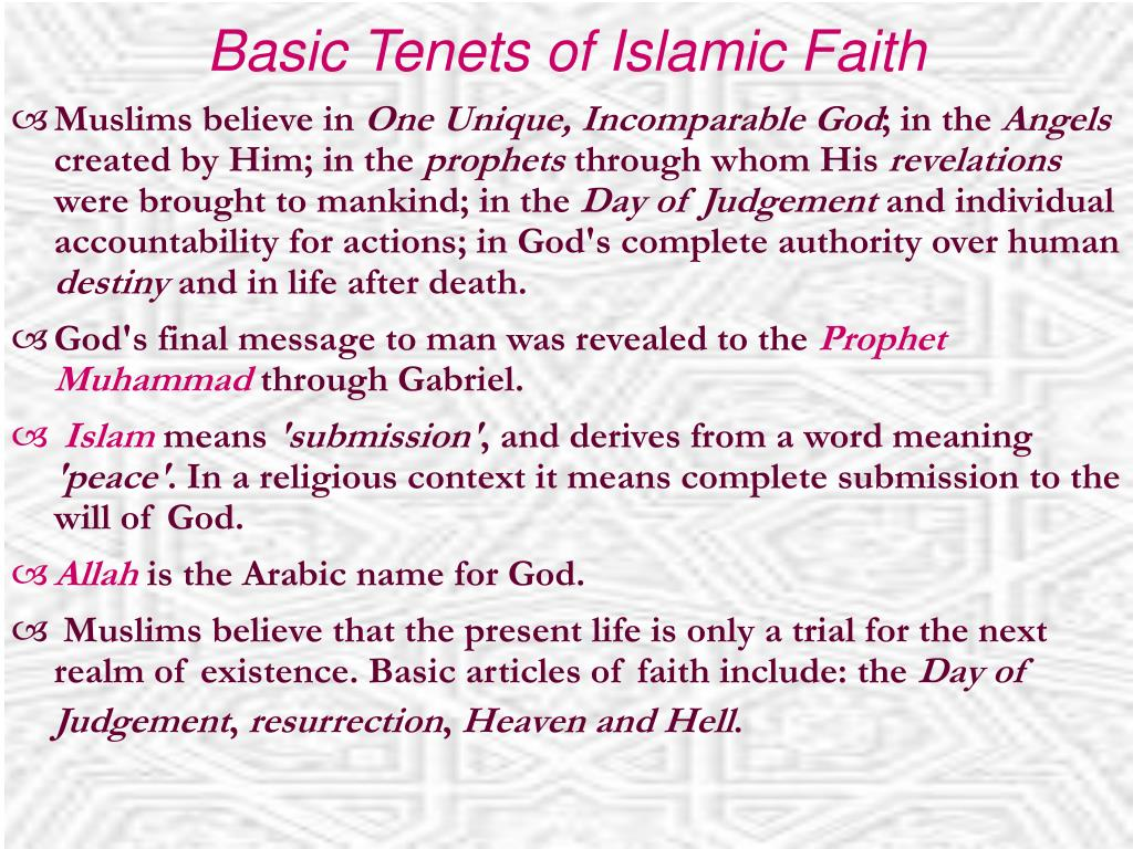 Basic Tenets of Islamic Faith