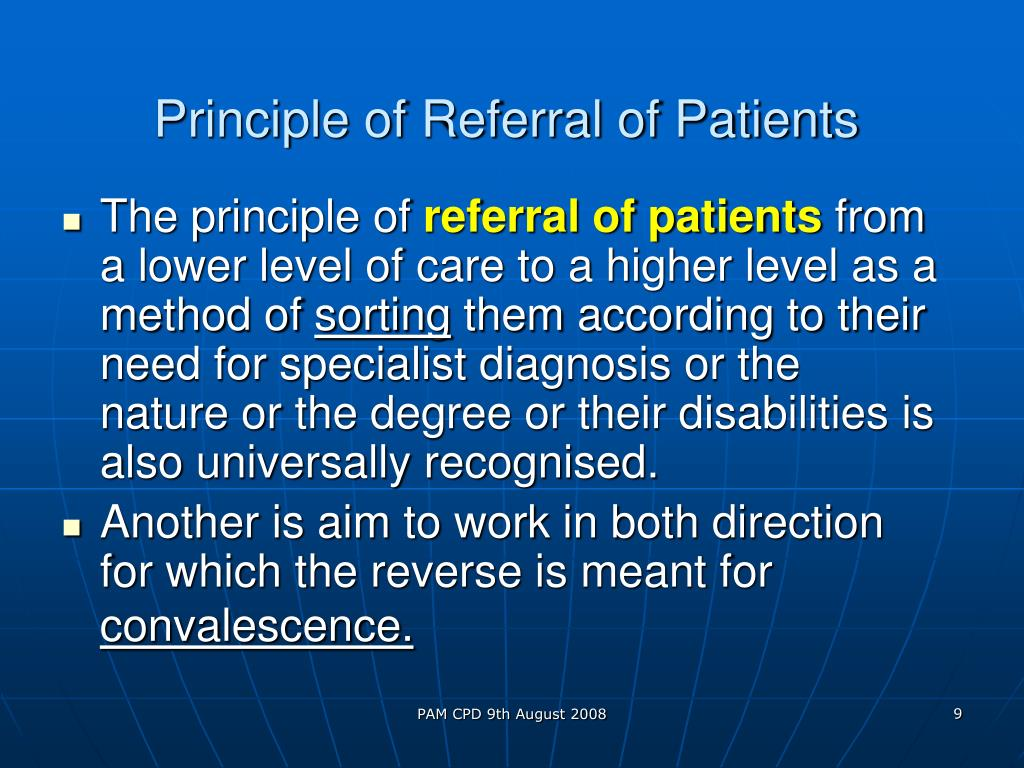 Principle of Referral of Patients
