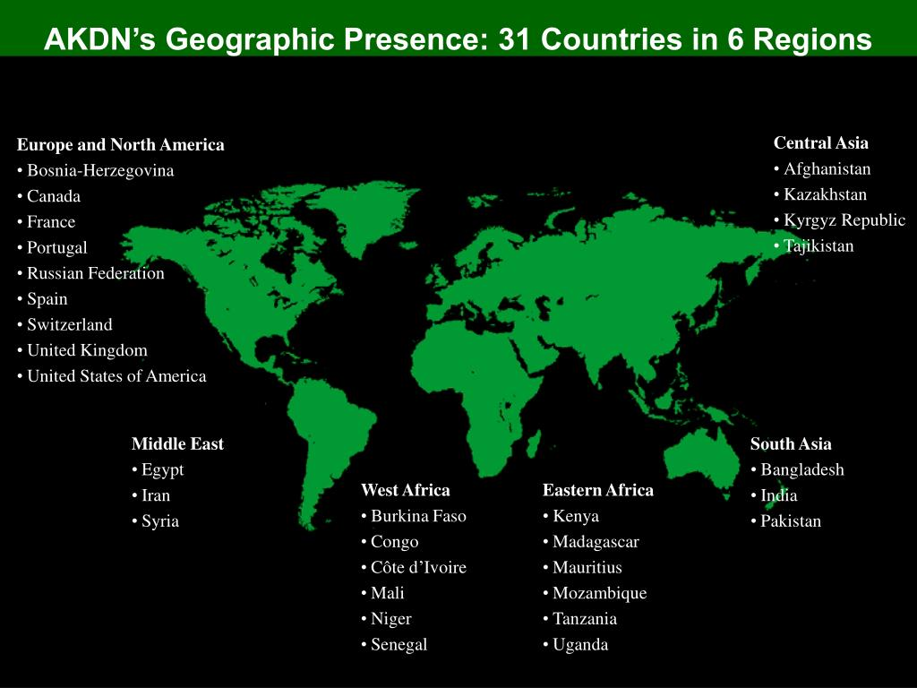 AKDN's Geographic Presence: 31 Countries in 6 Regions