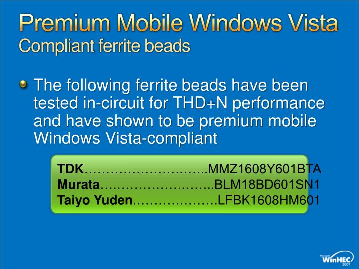 Premium Mobile Windows Vista