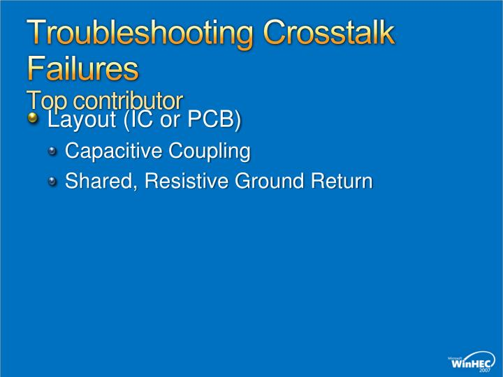 Troubleshooting Crosstalk Failures
