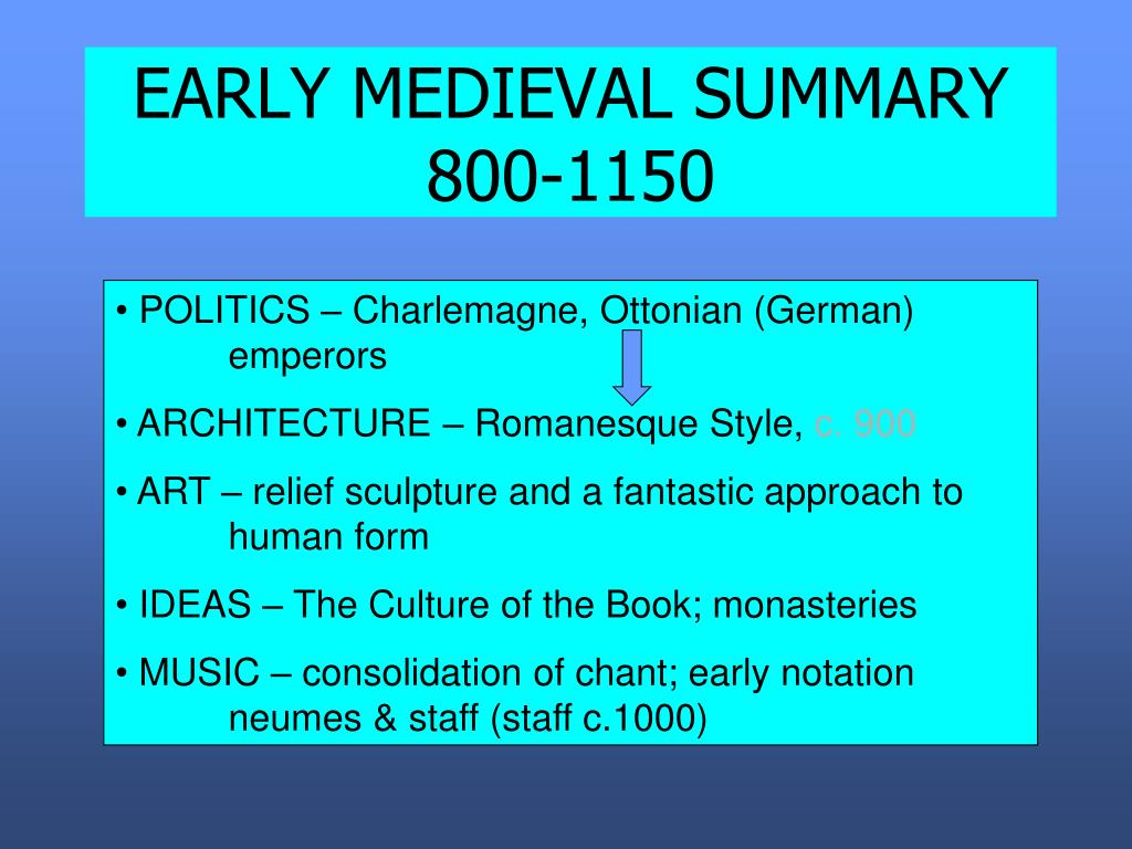 EARLY MEDIEVAL SUMMARY