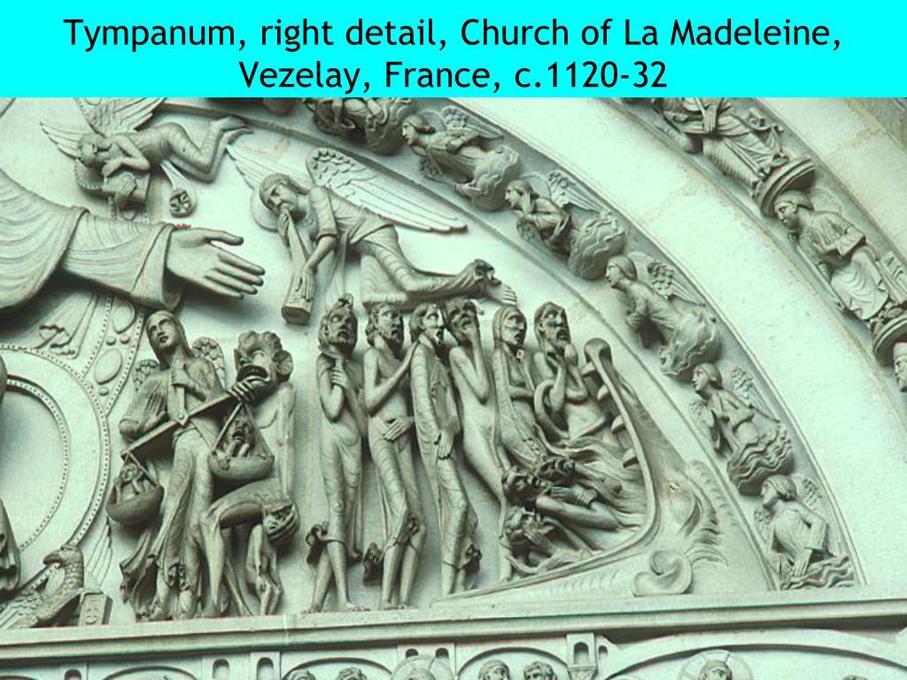 Tympanum, right detail, Church of La Madeleine, Vezelay, France, c.1120-32