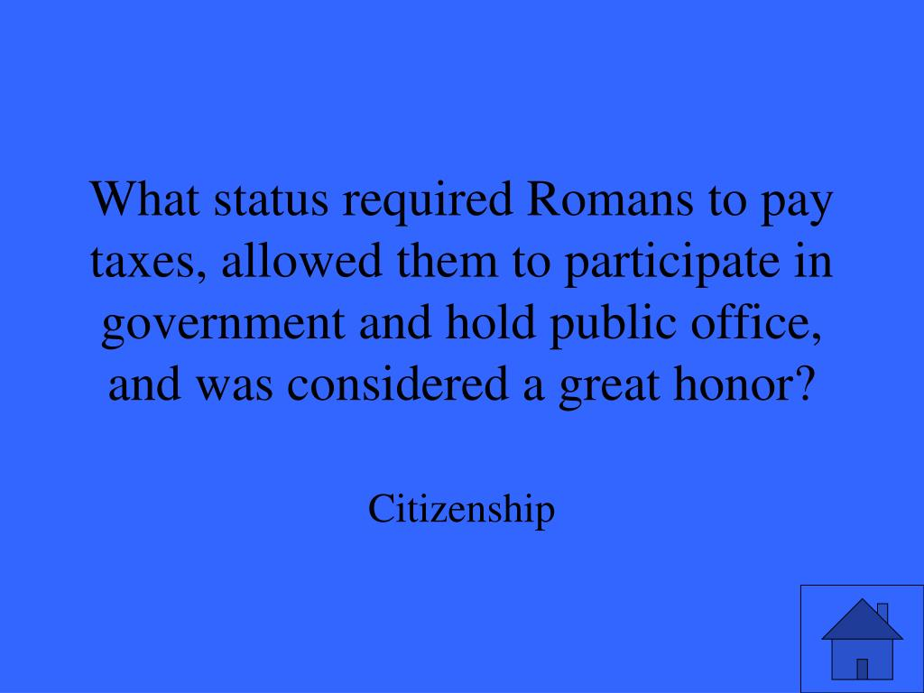 What status required Romans to pay taxes, allowed them to participate in government and hold public office, and was considered a great honor?