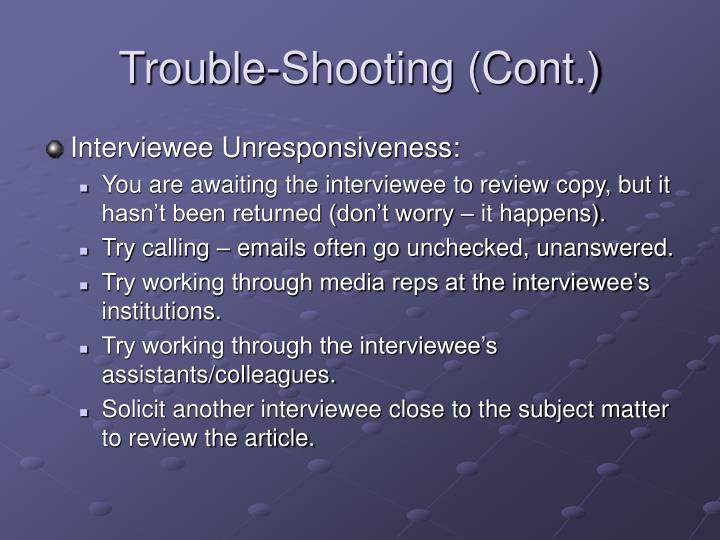 Trouble-Shooting (Cont.)