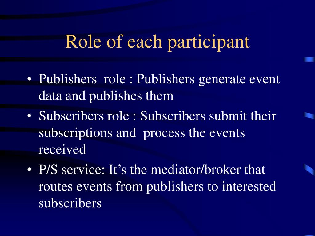 Role of each participant