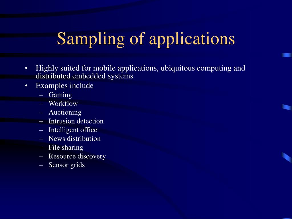 Sampling of applications