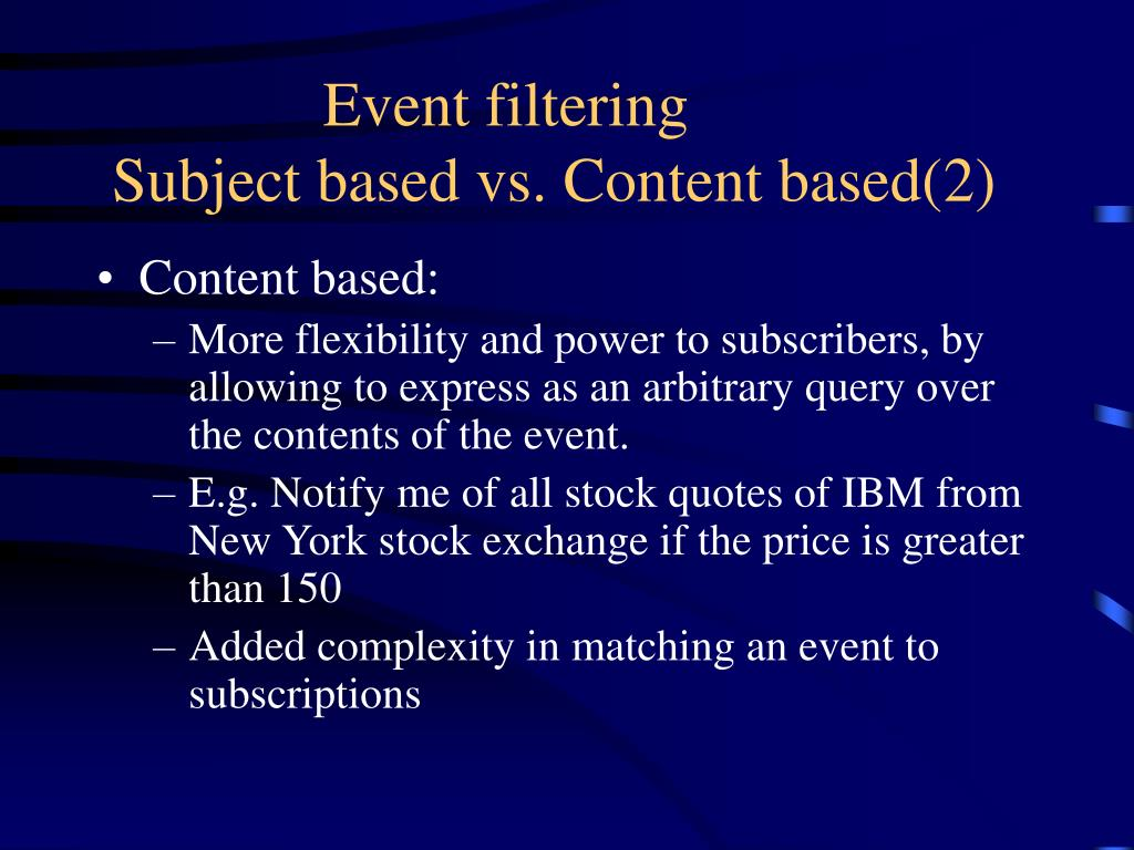 Event filtering