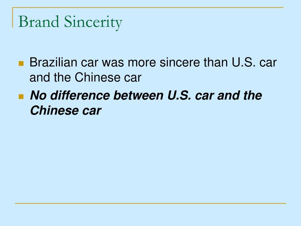 Brand Sincerity