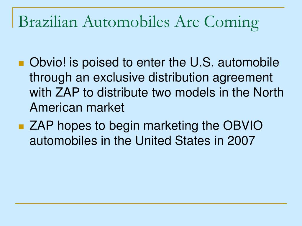 Brazilian Automobiles Are Coming