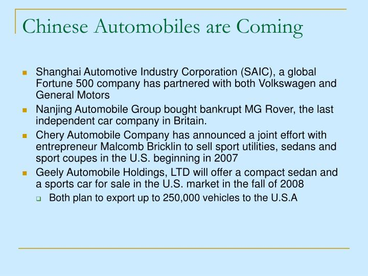 Chinese automobiles are coming
