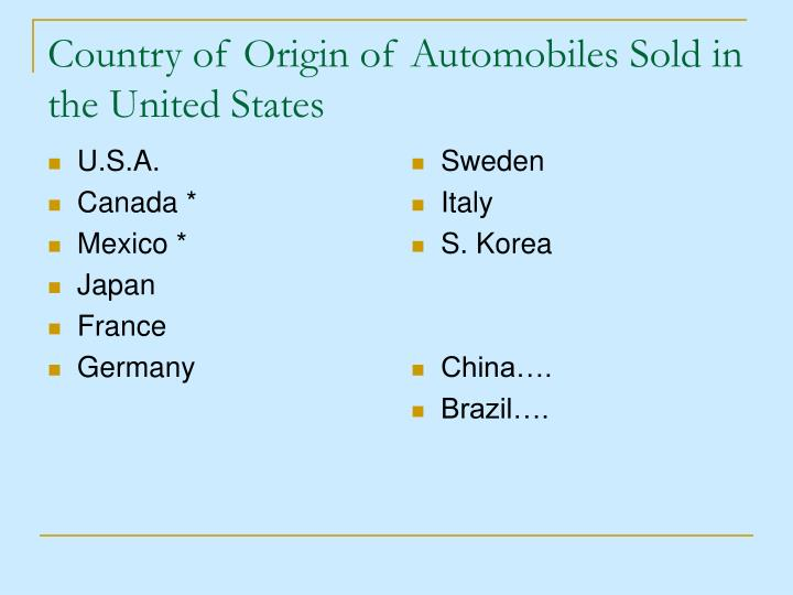 Country of origin of automobiles sold in the united states