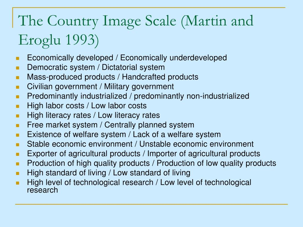 The Country Image Scale (Martin and Eroglu 1993)