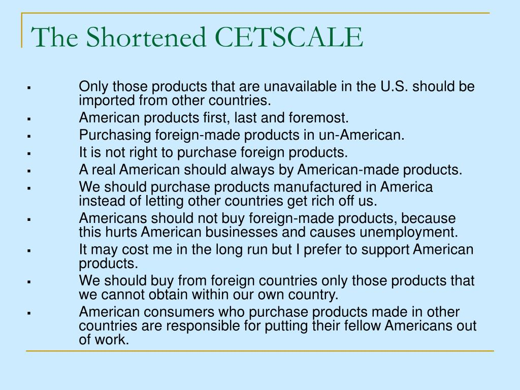 The Shortened CETSCALE