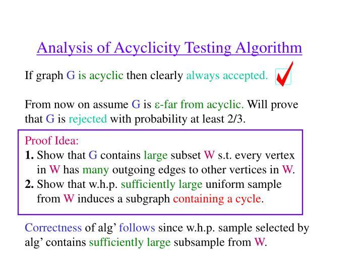 Analysis of Acyclicity Testing Algorithm