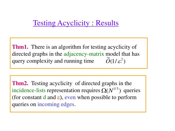 Testing Acyclicity : Results
