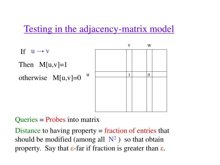 Testing in the adjacency-matrix model