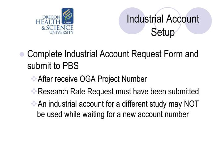 Industrial Account Setup
