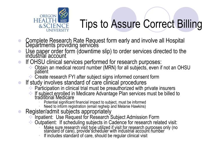 Tips to Assure Correct Billing