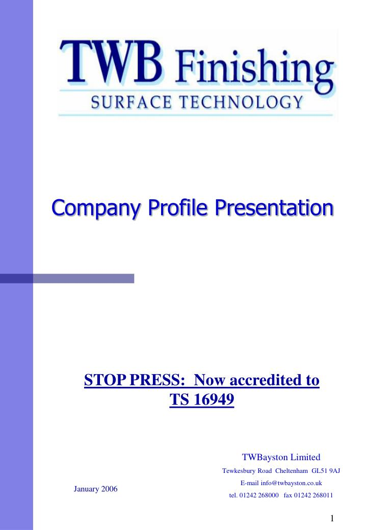 company profile powerpoint presentation A couple of months ago, i found this company profile template that is very complete and it has been very effective for me it's definitely my go-to template every.