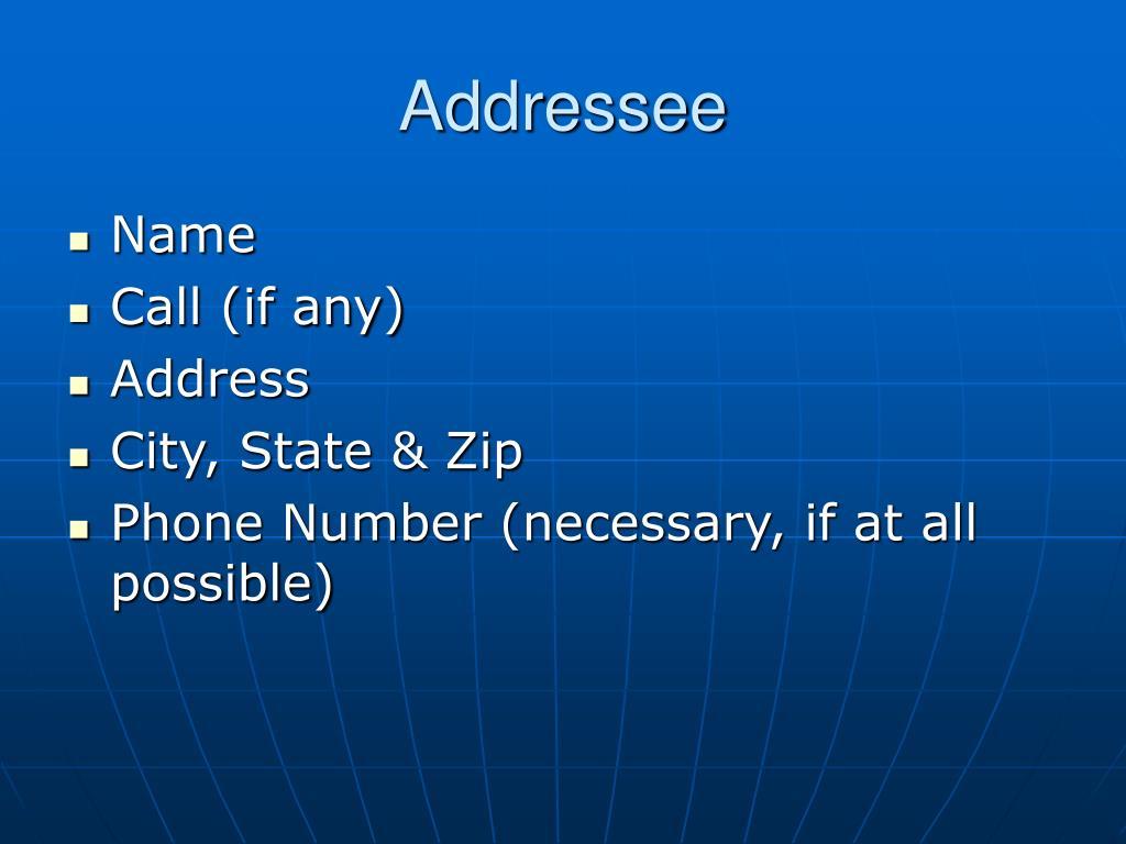 Addressee