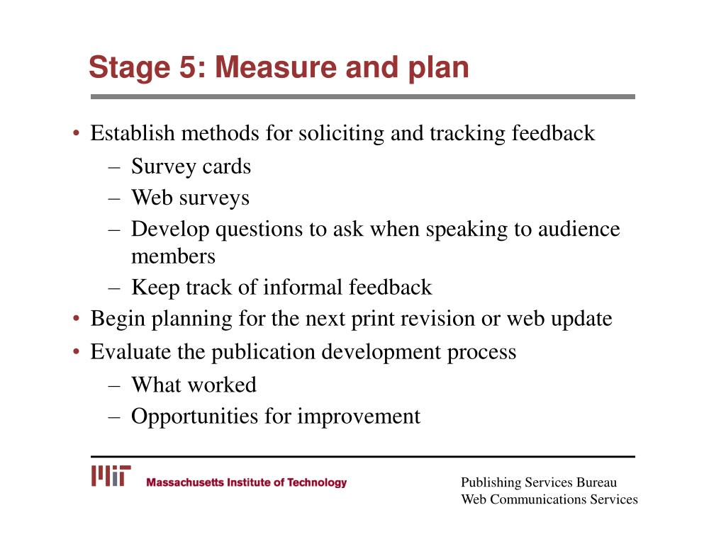 Stage 5: Measure and plan