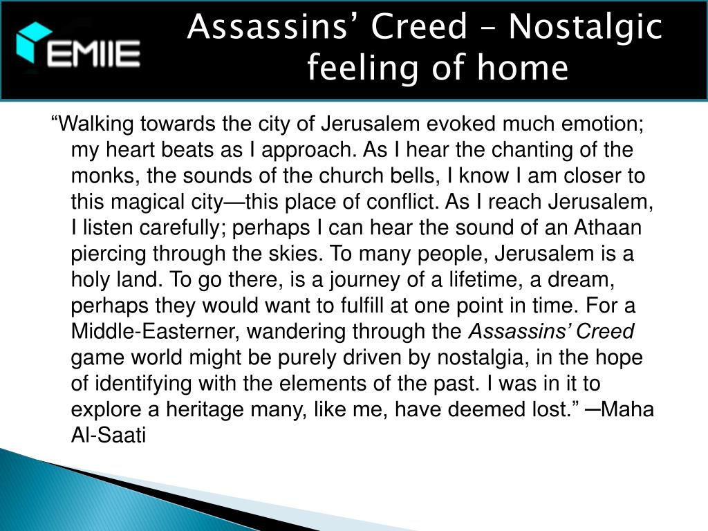 Assassins' Creed – Nostalgic feeling of home