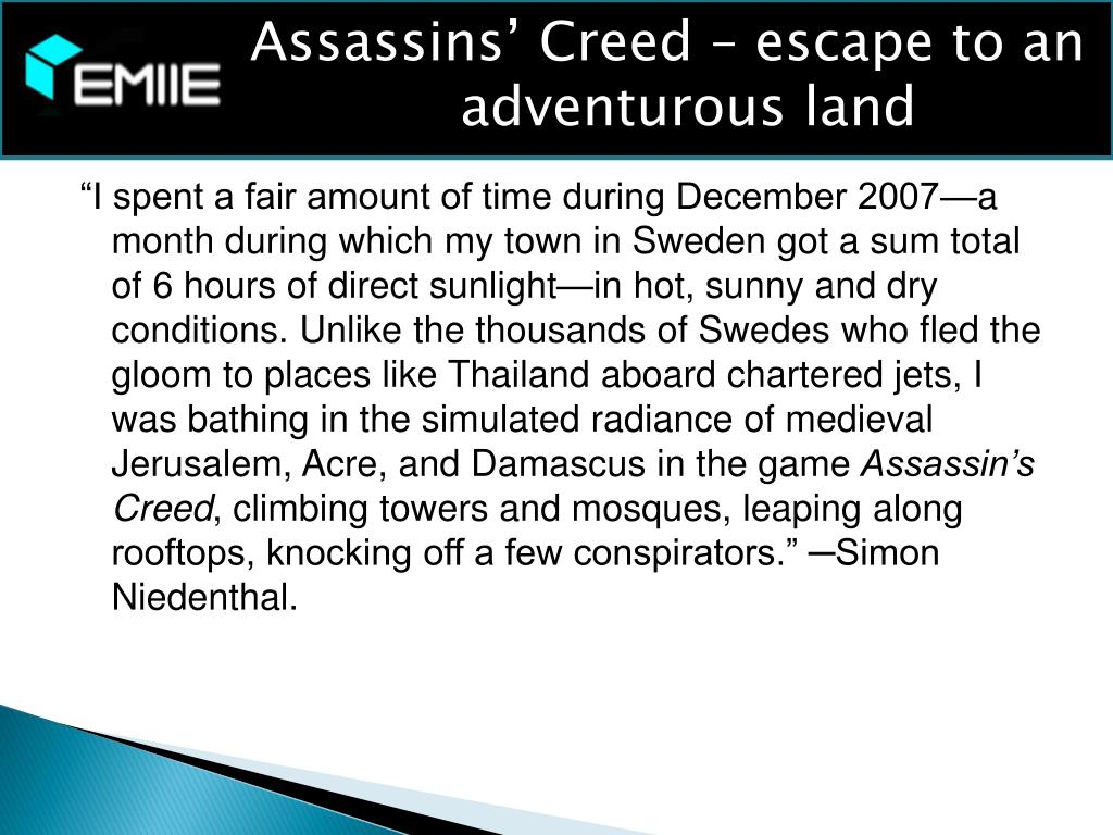 Assassins' Creed – escape to an adventurous land