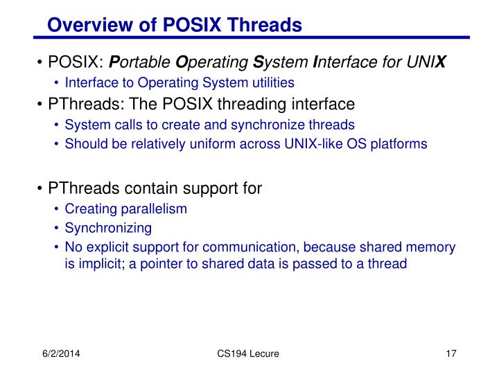 Overview of POSIX Threads