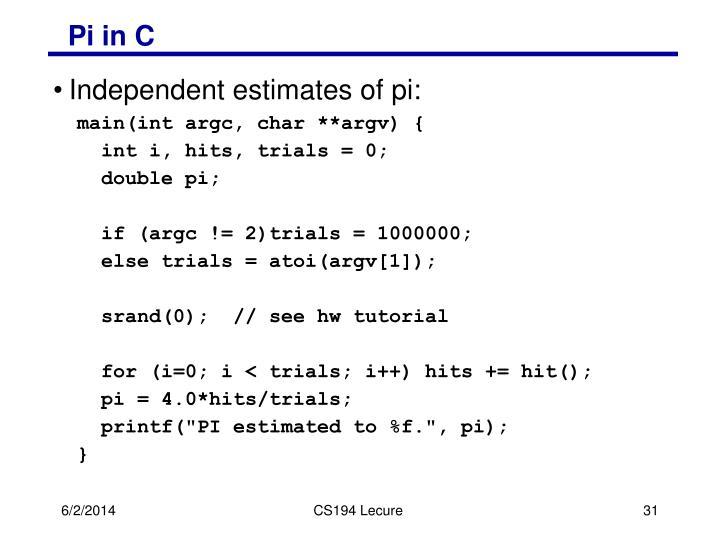 Pi in C
