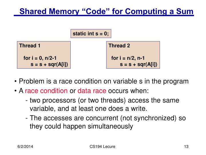 "Shared Memory ""Code"" for Computing a Sum"