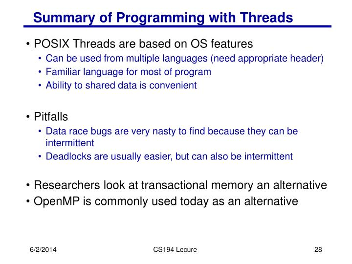 Summary of Programming with Threads