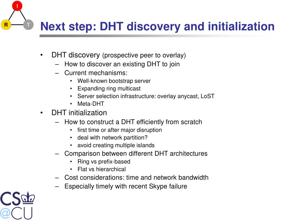 Next step: DHT discovery and initialization