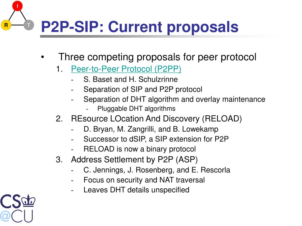 P2P-SIP: Current proposals