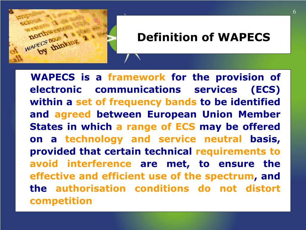Definition of WAPECS