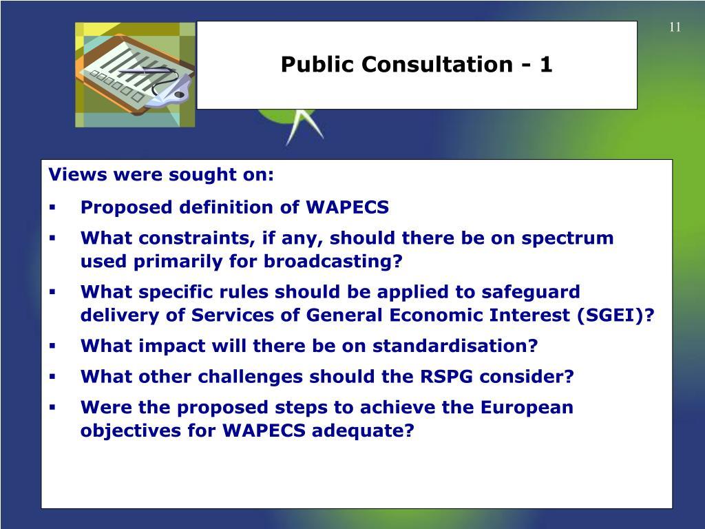 Public Consultation - 1