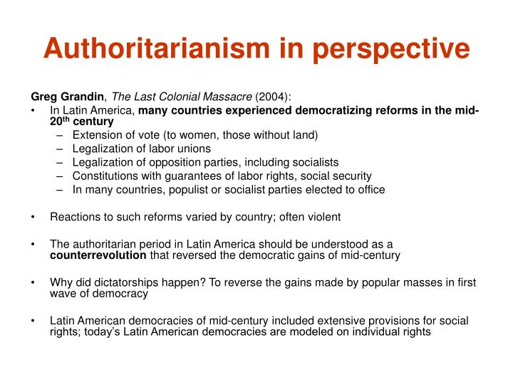 Authoritarianism in perspective