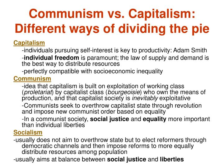 Communism vs. Capitalism: Different ways of dividing the pie