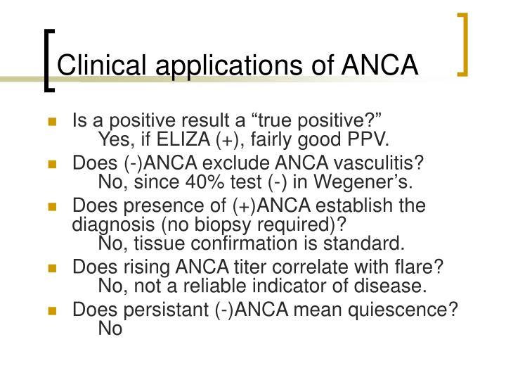 Clinical applications of ANCA