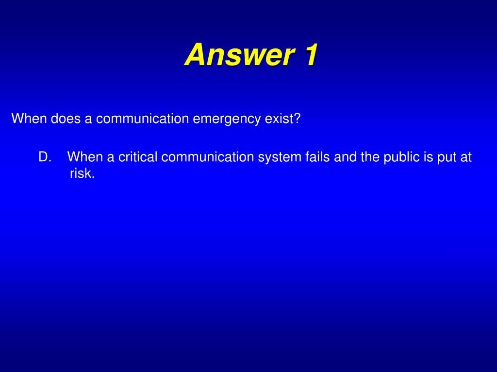 Answer 1