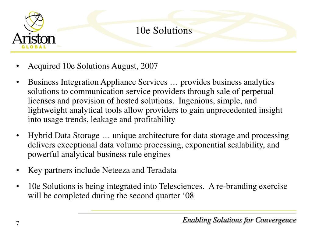 10e Solutions