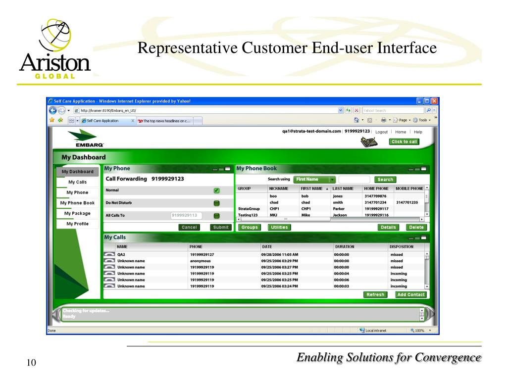 Representative Customer End-user Interface