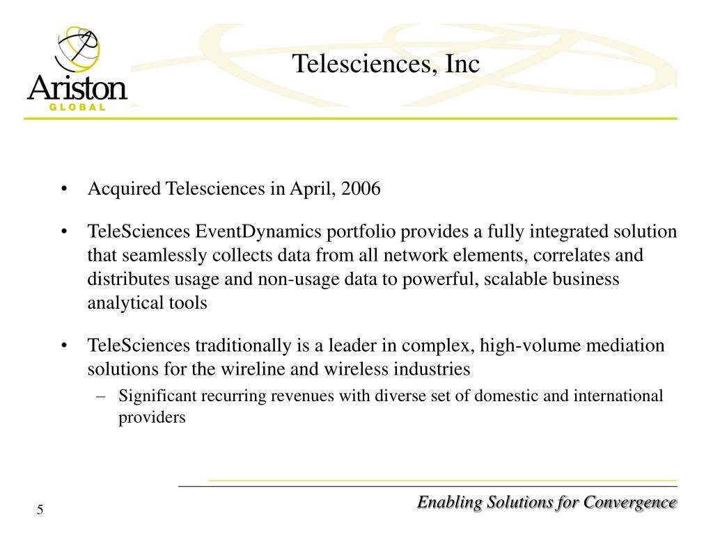 Telesciences, Inc