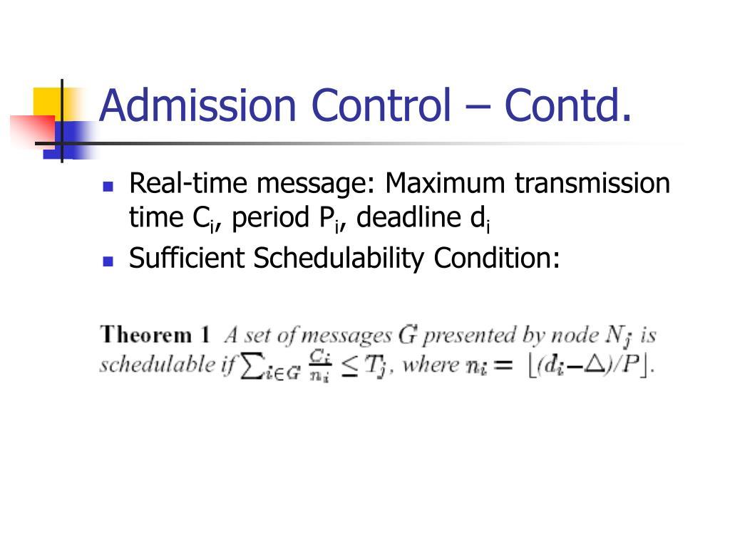 Admission Control – Contd.
