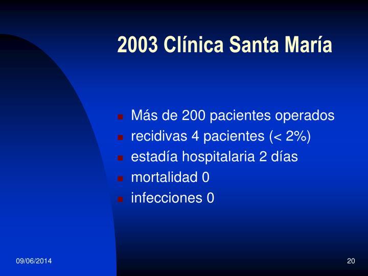 2003 Clínica Santa María