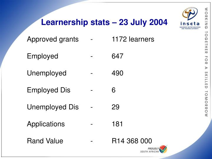 Learnership stats – 23 July 2004