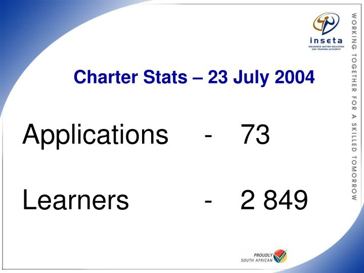 Charter Stats – 23 July 2004