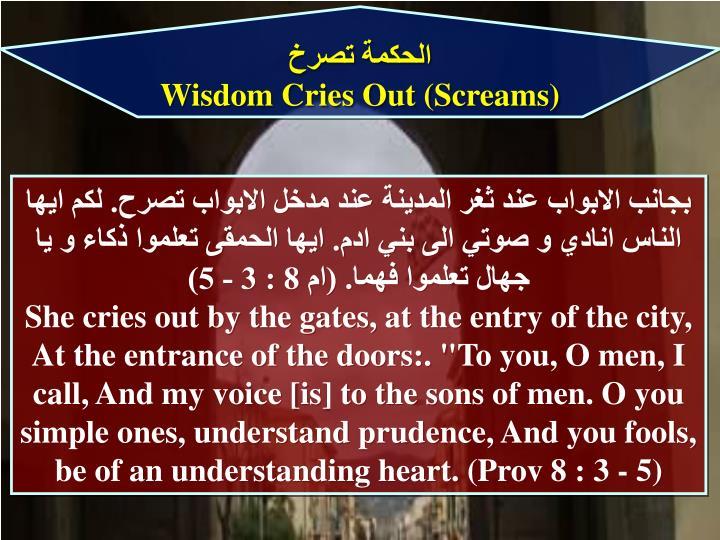الحكمة تصرخ