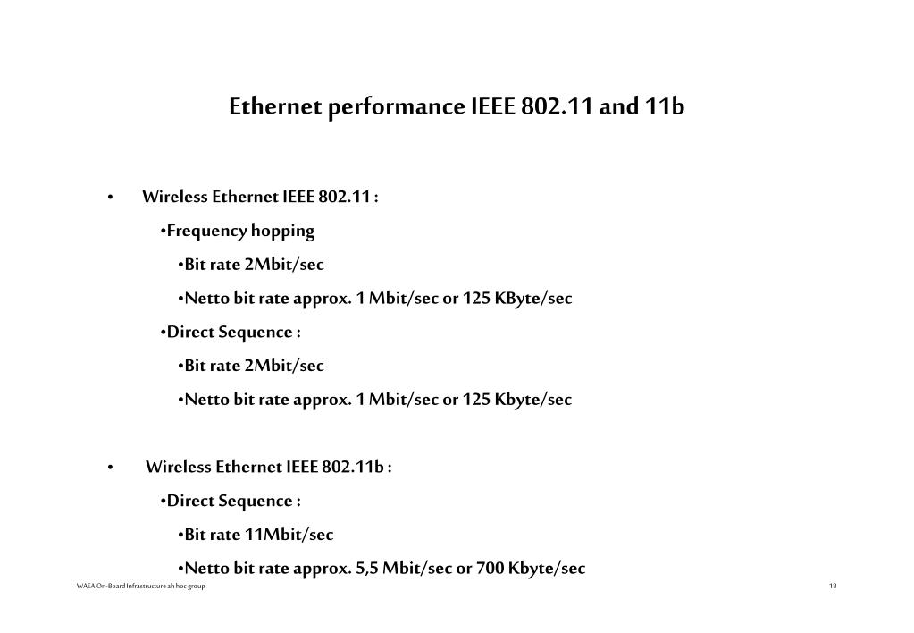 Ethernet performance IEEE 802.11 and 11b