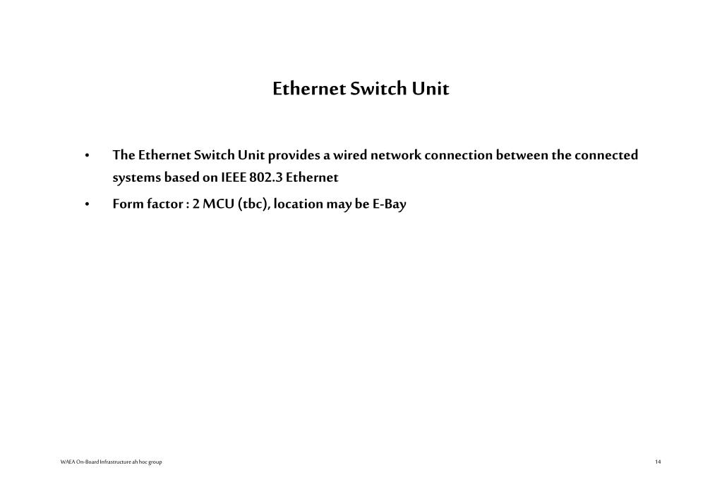 Ethernet Switch Unit